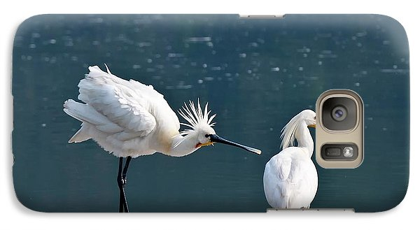 Spoonbill Galaxy S7 Case - Eurasian Spoonbill Courtship Display by K Jayaram