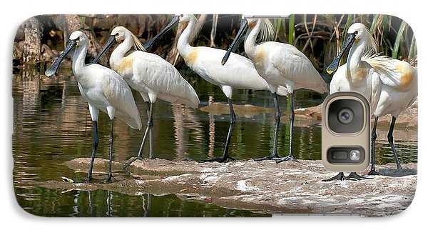 Spoonbill Galaxy S7 Case - Eurasian Spoonbills At Water's Edge by K Jayaram