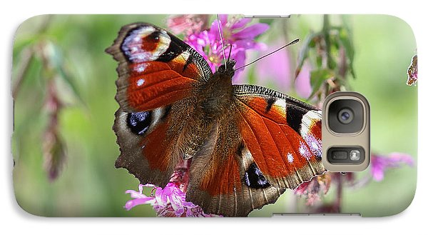 Galaxy Case featuring the photograph European Peacock Butterfly - Nymphalis Io by Jivko Nakev