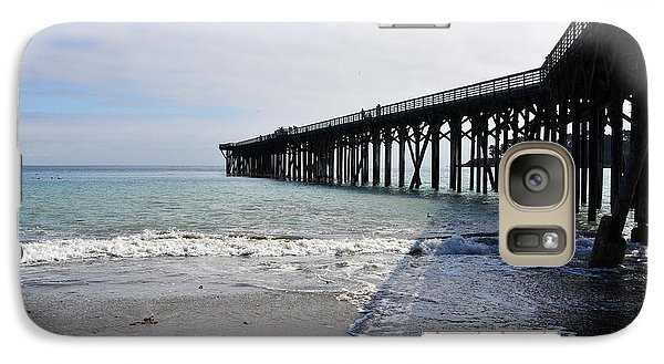 Galaxy Case featuring the photograph Evening Pier Shadows Are Lost In The Surf by Debby Pueschel