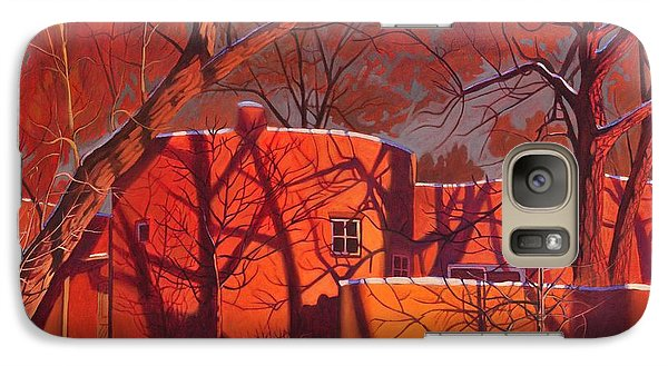 Galaxy Case featuring the painting Evening Shadows On A Round Taos House by Art James West