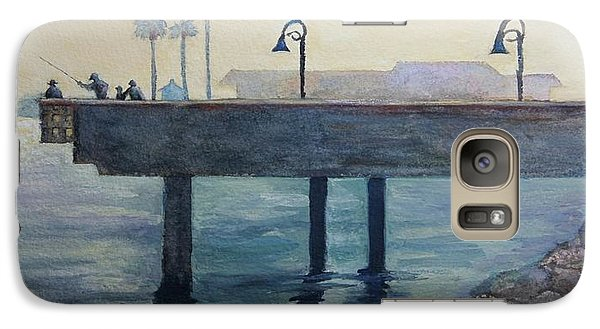 Galaxy Case featuring the painting Eventide At The Oceanside Harbor Fishing Pier by Jan Cipolla