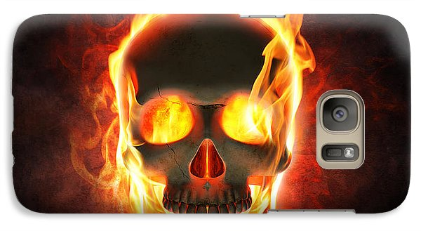 Magician Galaxy S7 Case - Evil Skull In Flames And Smoke by Johan Swanepoel