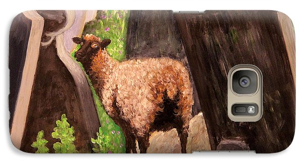 Galaxy Case featuring the painting Ewe Spooked? by Janet Greer Sammons