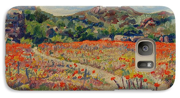 Galaxy Case featuring the painting Expanse Of Orange Desert Flowers With Hills by Thomas Bertram POOLE