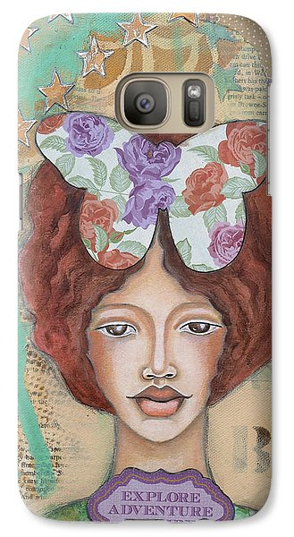 Galaxy Case featuring the mixed media Explore Adventure Inspire Inspirational Art by Stanka Vukelic