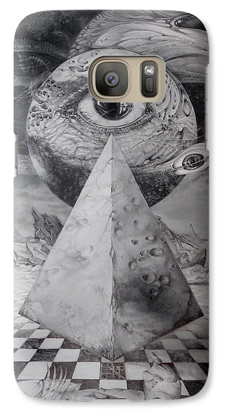 Galaxy Case featuring the drawing Eye Of The Dark Star - Journey Through The Wormhole by Otto Rapp