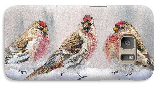 Snowy Birds - Eyeing The Feeder 2 Alaskan Redpolls In Winter Scene Galaxy S7 Case