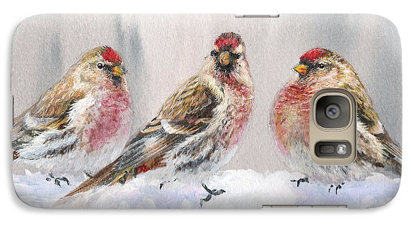 Snowy Birds - Eyeing The Feeder 2 Alaskan Redpolls In Winter Scene Galaxy Case by Karen Whitworth