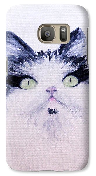 Galaxy Case featuring the painting Eyelash Kitty by Janet Greer Sammons