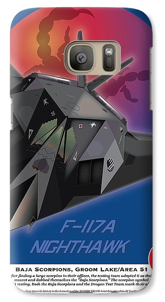 Galaxy Case featuring the drawing F-117 Nighthawk Baja Scorpions by Kenneth De Tore
