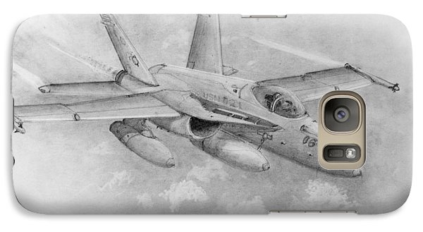 Galaxy Case featuring the drawing F-18 Super Hornet by Jim Hubbard