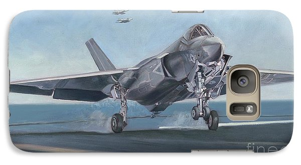 Galaxy Case featuring the painting F-35c Carrier Landing by Stephen Roberson