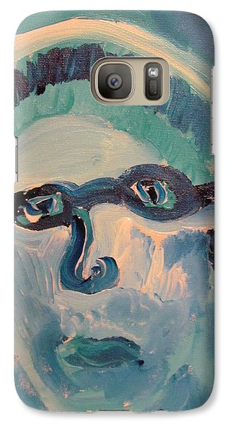 Galaxy Case featuring the painting Face Three As Grandpa Snowman by Shea Holliman