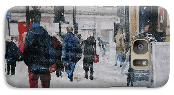 Galaxy Case featuring the painting Faceless Crowd by Cherise Foster