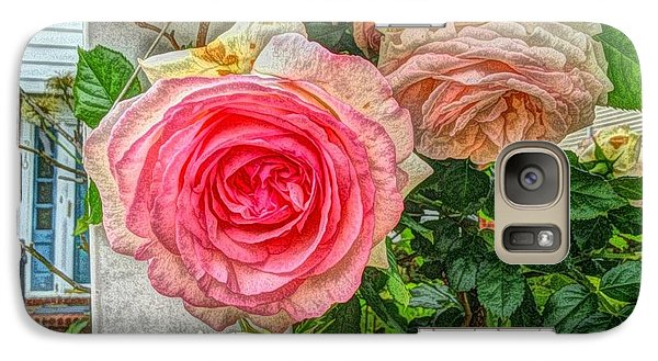 Galaxy Case featuring the photograph Faded Pink Roses On A Trellis by Becky Lupe