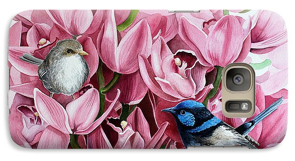 Galaxy Case featuring the painting Fairy Wrens And Orchids by Debbie Hart