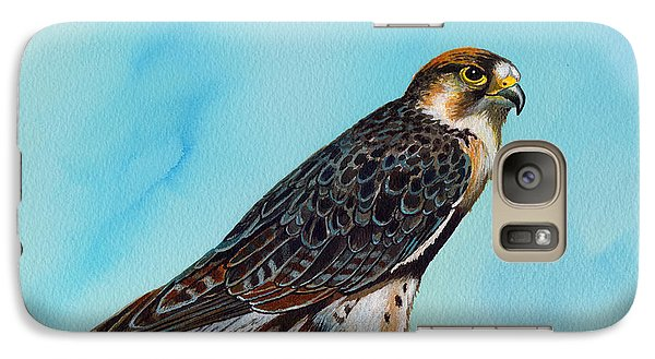 Galaxy Case featuring the painting Falcon On Stump by Anthony Mwangi