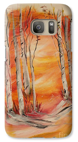 Galaxy Case featuring the painting Fall Aspen On Paper by Janice Rae Pariza