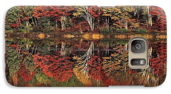 Galaxy Case featuring the photograph Fall Color Reflected In Thornton Lake Michigan by Dave Welling