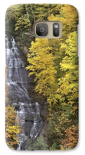 Galaxy Case featuring the photograph Fall Color Surrounds Chapel Falls On The Michigan Upper Peninsula by Dave Welling