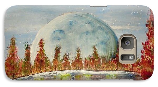 Galaxy Case featuring the painting Fall Moon Rising by Carol Duarte