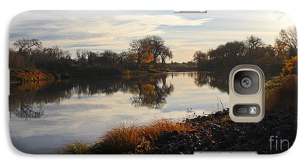 Galaxy Case featuring the photograph Fall Red River At Sunrise by Steve Augustin