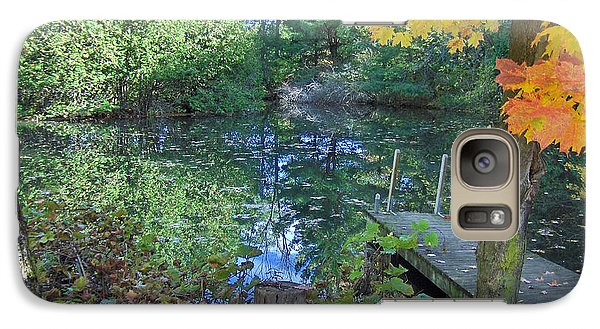 Galaxy Case featuring the photograph Fall Scene By Pond by Brenda Brown