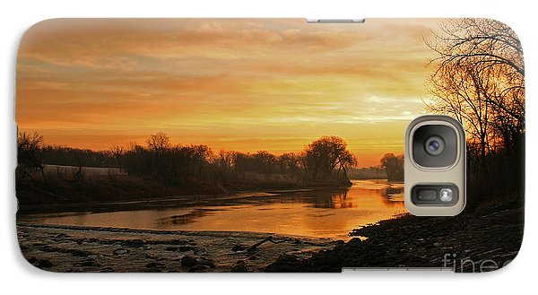 Galaxy Case featuring the photograph Fall Sunrise On The Red River by Steve Augustin