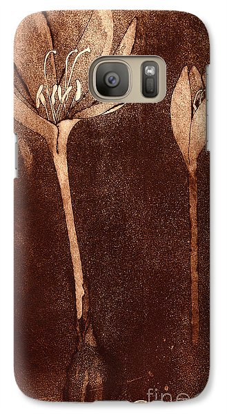 Galaxy Case featuring the painting Fall Time - Autumn Crocus Meadow Safran by Urft Valley Art