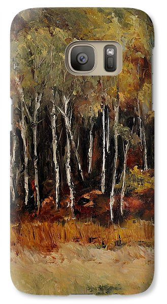 Galaxy Case featuring the painting Fall Trees Number Two by Lindsay Frost