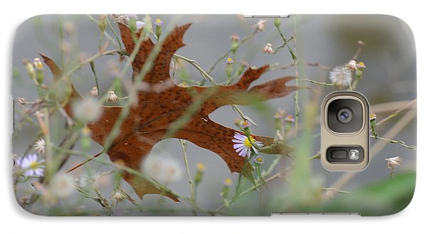 Galaxy Case featuring the photograph Fallen Oak Leaf Caught In Weeds by Debby Pueschel