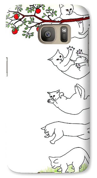 Galaxy Case featuring the drawing Falling Cat by Patricia Overmoyer