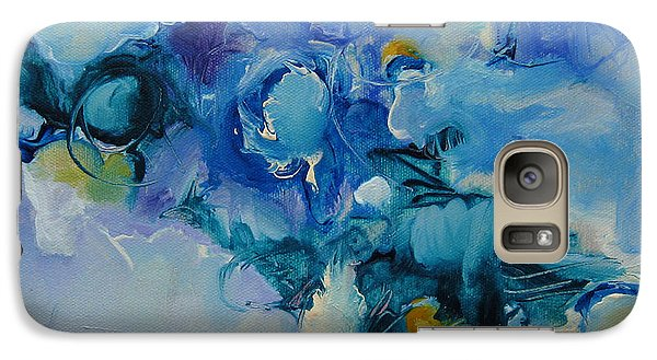 Galaxy Case featuring the painting falling into blue I by Elis Cooke