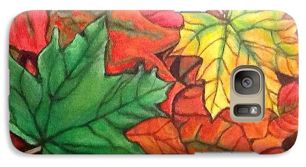 Galaxy Case featuring the painting Falling Leaves 1 Painting With Quote by Kimberlee Baxter