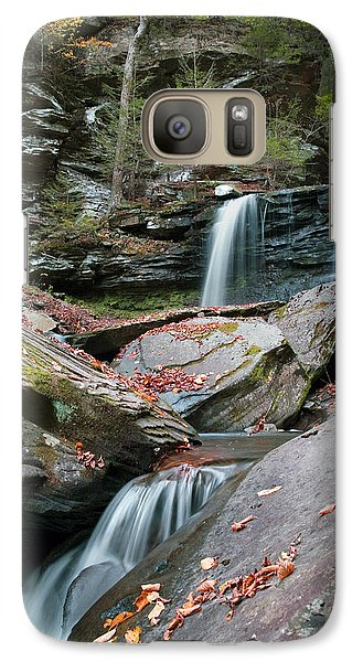 Galaxy Case featuring the photograph Falling Water Meets Fallen Leaves by Gene Walls