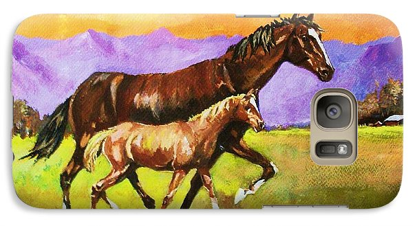 Galaxy Case featuring the painting Family Stroll by Al Brown