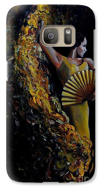 Galaxy Case featuring the painting Fan Dance by Nancy Bradley