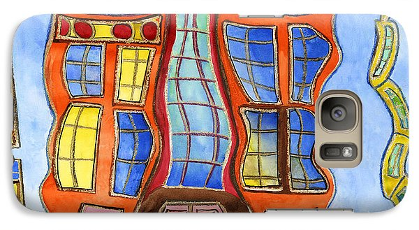 Galaxy Case featuring the painting Fanciful Wavy House Painting by Lenora  De Lude