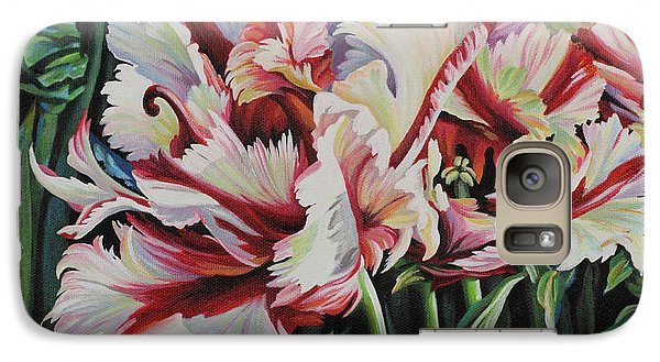 Galaxy Case featuring the painting Fancy Parrot Tulips by Jane Girardot