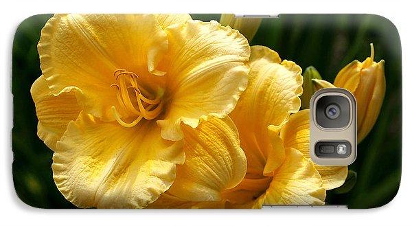 Fancy Yellow Daylilies Galaxy Case by Rona Black