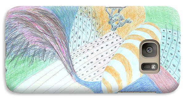 Galaxy Case featuring the drawing Fantasy Of Egg And Cactus by Esther Newman-Cohen