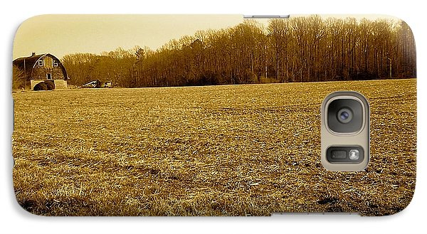 Galaxy Case featuring the photograph Farm Field With Old Barn In Sepia by Amazing Photographs AKA Christian Wilson