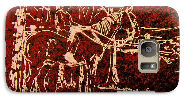 Galaxy Case featuring the drawing Farm Horse by Larry Campbell