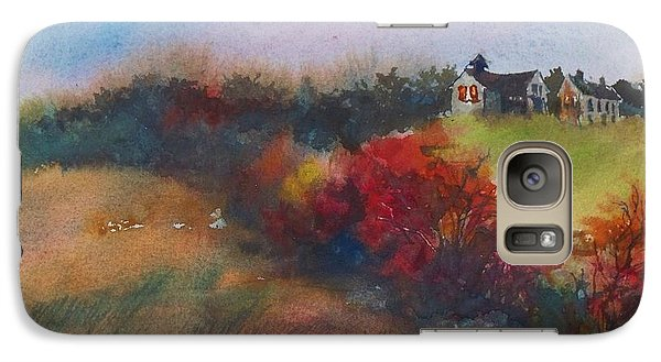 Galaxy Case featuring the painting Farm On The Hill At Sunset by Joy Nichols