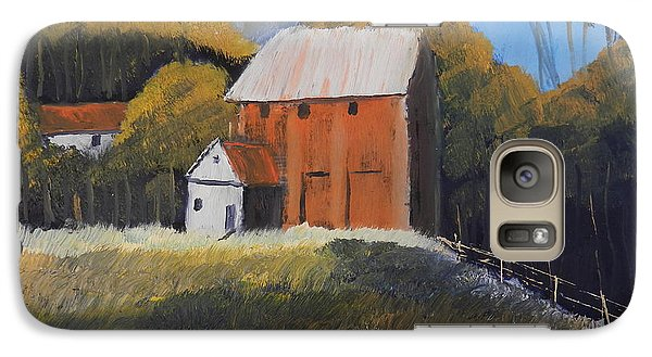 Galaxy Case featuring the painting Farm With Red Barn by Pamela  Meredith