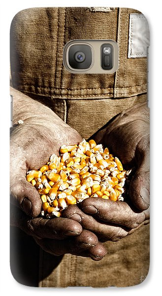 Galaxy Case featuring the photograph Farmer's Hands With Seed Corn by Lincoln Rogers