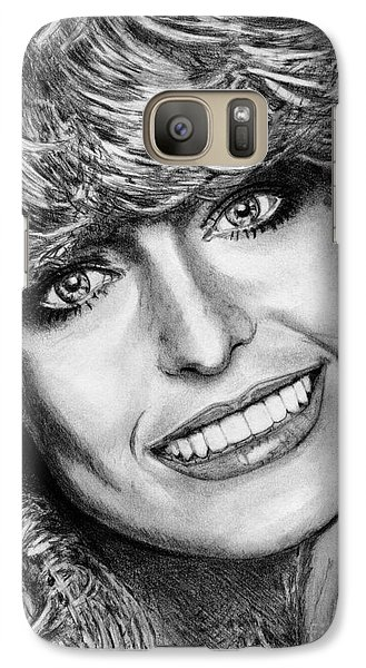 Galaxy Case featuring the drawing Farrah Fawcett In 1976 by J McCombie