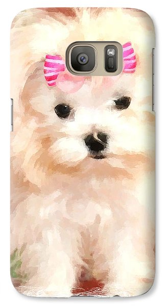 Galaxy Case featuring the photograph Faux Maltese Bella by Margaret Newcomb