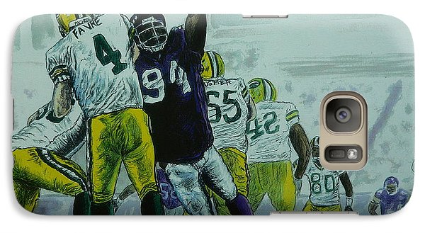 Galaxy Case featuring the painting Favre Vs The Vikes by Dan Wagner
